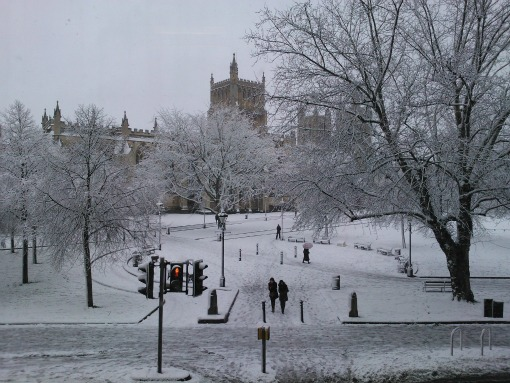 Bristol Cathedral and College Green in the snow