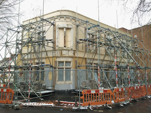 The Seven Ways frontage held up by scaffolding