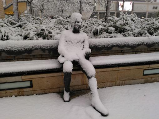 Thomas Chatterton in the snow Millennium Square Bristol